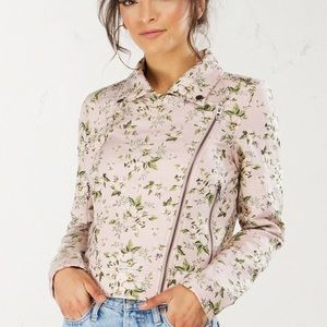 BLANK NYC WILD FLOWERS FAUX LEATHER JACKET